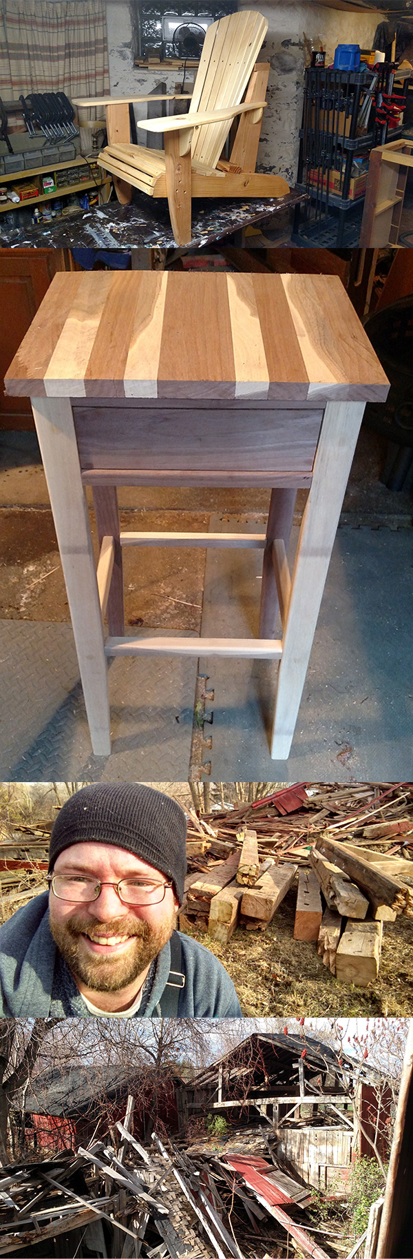 Blog Image Adirondack Chair, Stand, Barn Salvage from RandallsWoodWorks.com