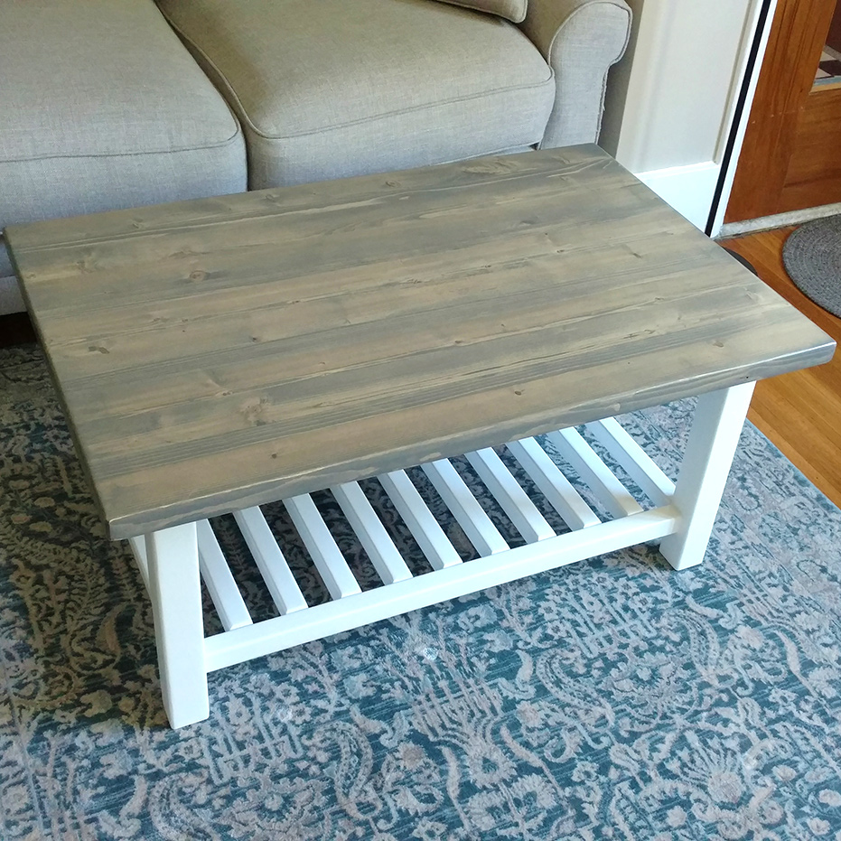 Custom Cottage Style Coffee Table by Josh Randall of RandallsWoodWorks.com