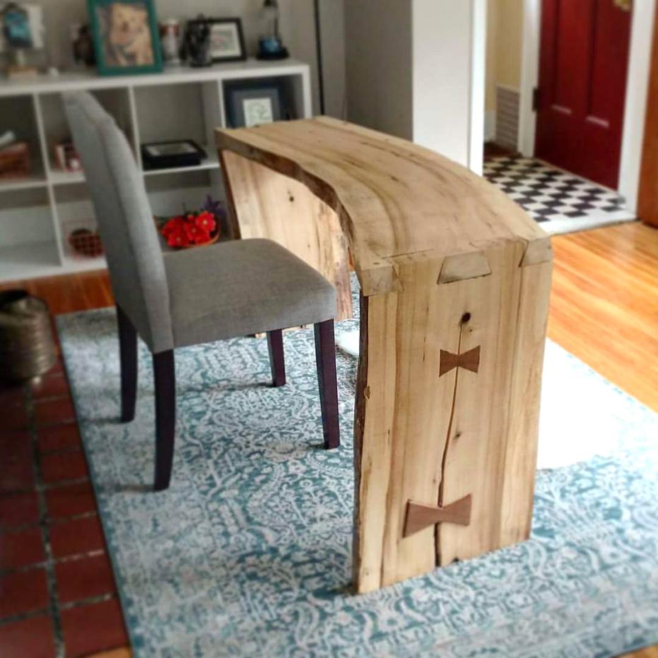 Live Edge Poplar Slab Desk with Walnut Bowties