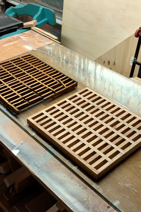 Bespoke Oak Floor Grate In Build Process Old Versus New
