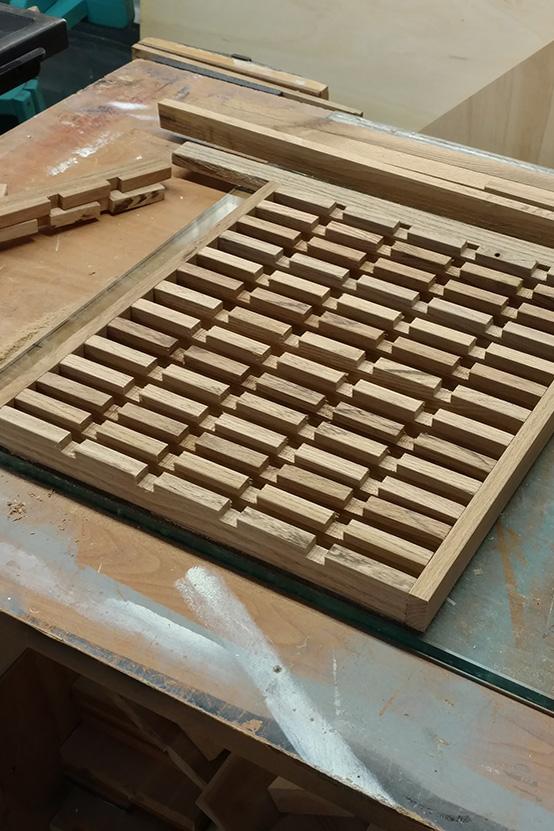 Bespoke Oak Floor Grate In Build Process