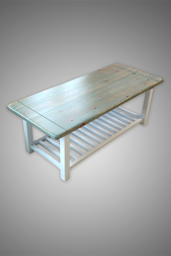 Reclaimed Pine Top Cottage Style Coffee Table