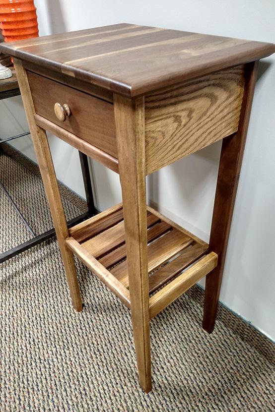 Walnut & Oak Stand With Drawer